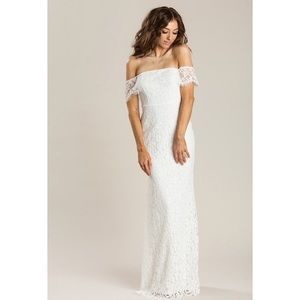 Dresses & Skirts - White lace off the shoulder maxi dress